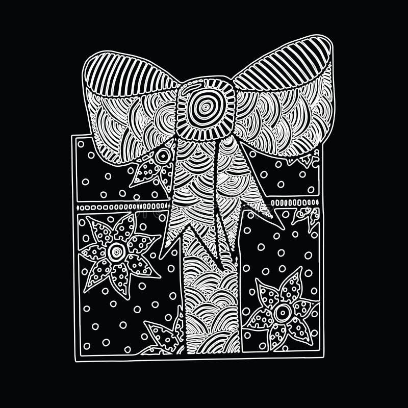 Monokleuren witte gift met lint stock illustratie