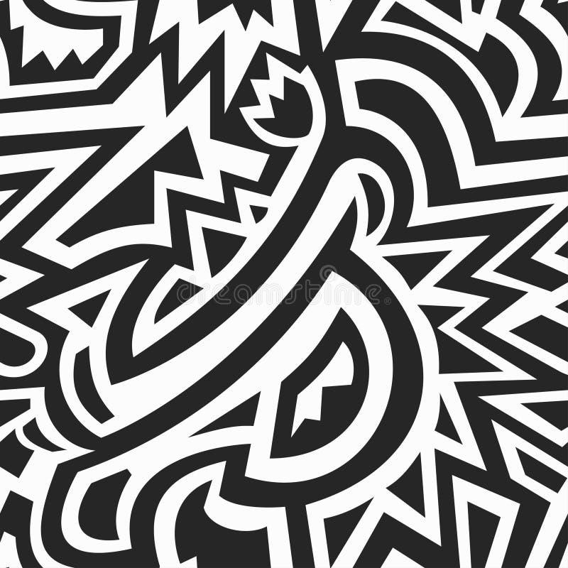 Monokrom afrikansk geometrisk sömlös modell stock illustrationer