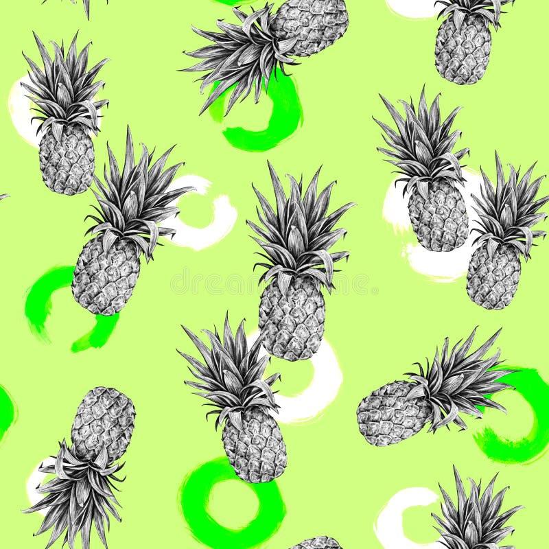 Monokrom ananas på ett ljus - grön bakgrund Färgglad illustration för vattenfärg tropisk frukt seamless modell stock illustrationer