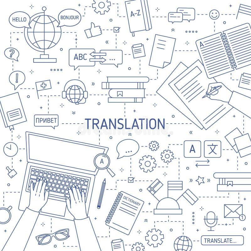 Monokrom banermall för fyrkant med händer av översättare som skriver på bärbar datortangentbordet och skriver på papper professio vektor illustrationer