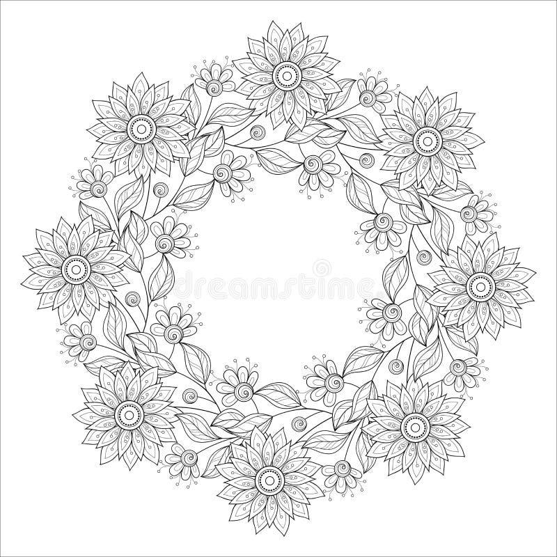 Monokrom blom- bakgrund för vektor stock illustrationer