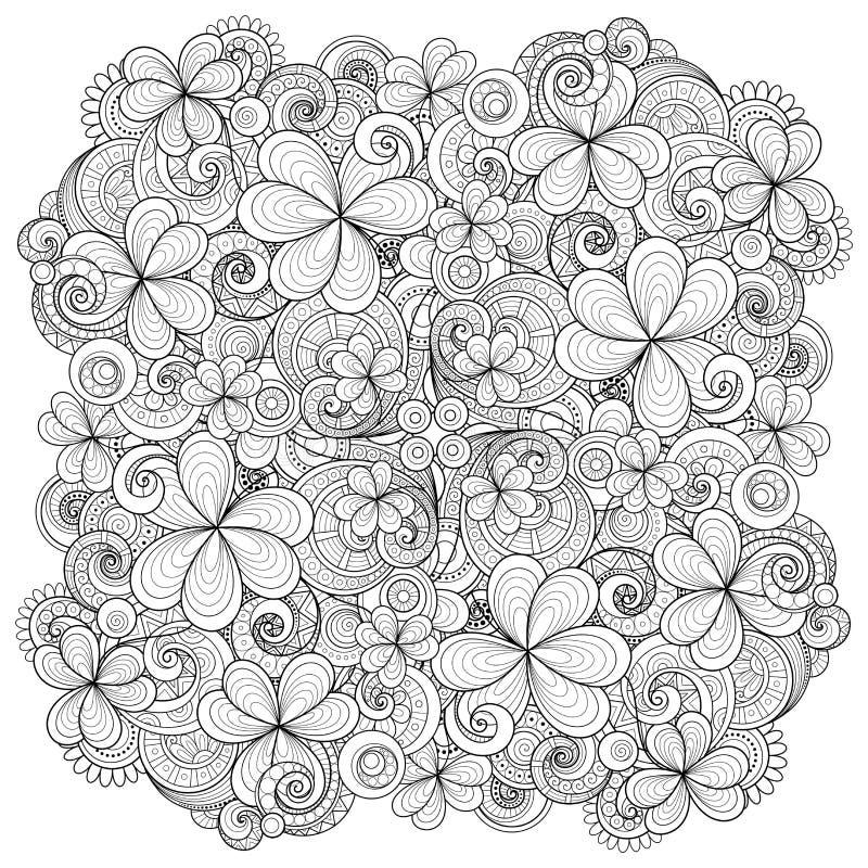Monokrom blom- bakgrund för vektor Hand dragen prydnad med dekorativa växt av släktet Trifolium och mynt royaltyfri illustrationer