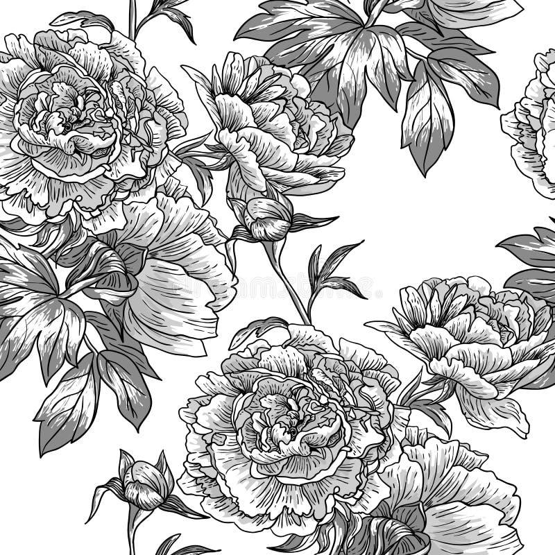 Monokrom blom- modell royaltyfri illustrationer