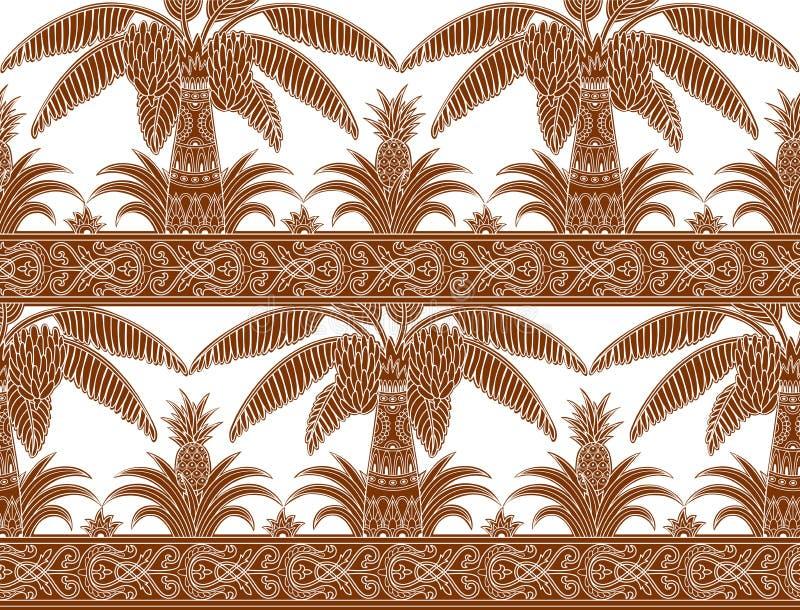 Monokrom brun palmträd- och ananasmodell stock illustrationer