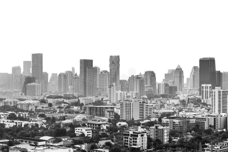 Monokrom cityscape av den bangkok staden i Thailand som isoleras royaltyfri fotografi