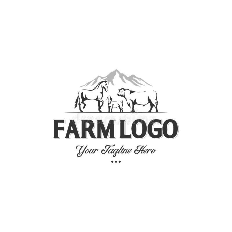 Monokrom etikett av lantgårddjur ko, häst och get med bergbakgrunden vektor illustrationer