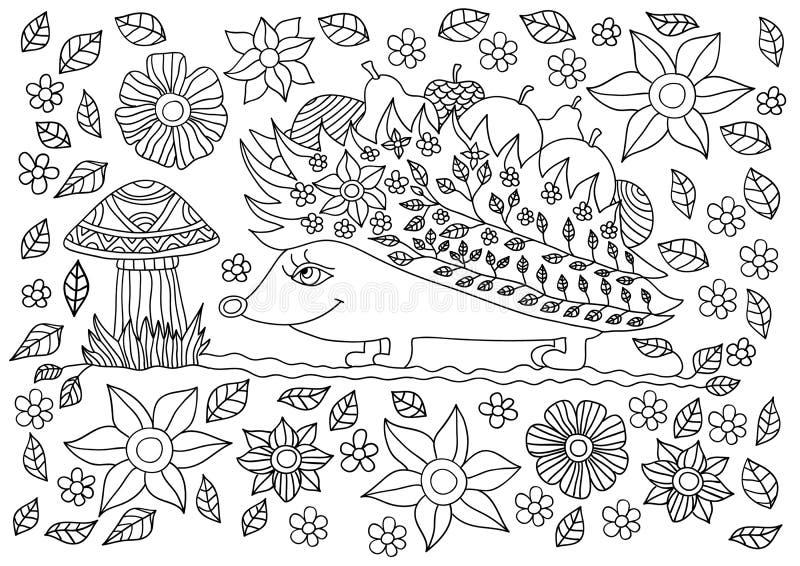 Monokrom färgpulverteckning Gullig igelkott med frukter och champinjoner vektor illustrationer