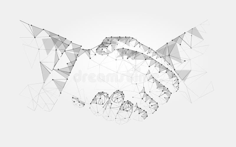Monokrom för överenskommelse för avtal för handskakning för två händer polygonal låg poly på en ljus bakgrund vektor vektor illustrationer