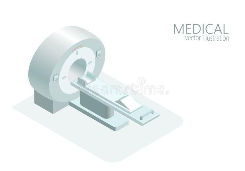 Monokrom för grå färger för lägenhet 3d för illustration för vektor för bildläsare för kopiering för magnetisk resonans för begre royaltyfri illustrationer