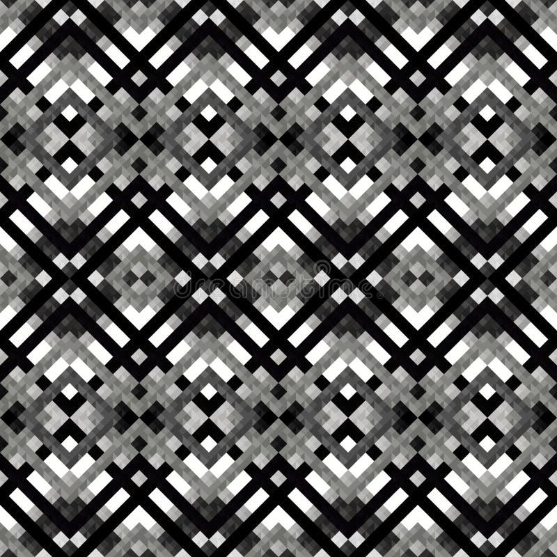 Monokrom fodrar, och polygoner gör sammandrag den geometriska sömlösa modellen i retro stil royaltyfri illustrationer