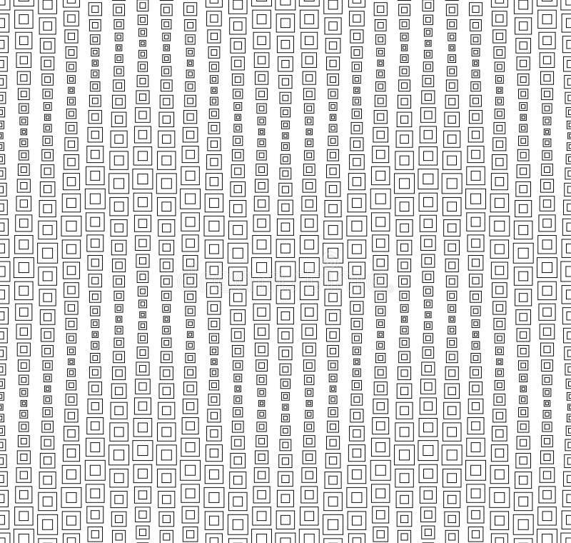 Monokrom geometrisk sömlös modell, bakgrund, beståndsdelar av den fyrkantiga formen, svart på vit, textur royaltyfri illustrationer