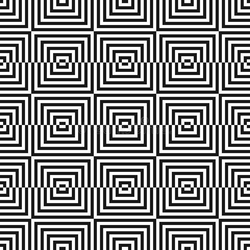 Monokrom geometrisk sömlös modell med små fyrkanter, linjer optisk konst vektor illustrationer