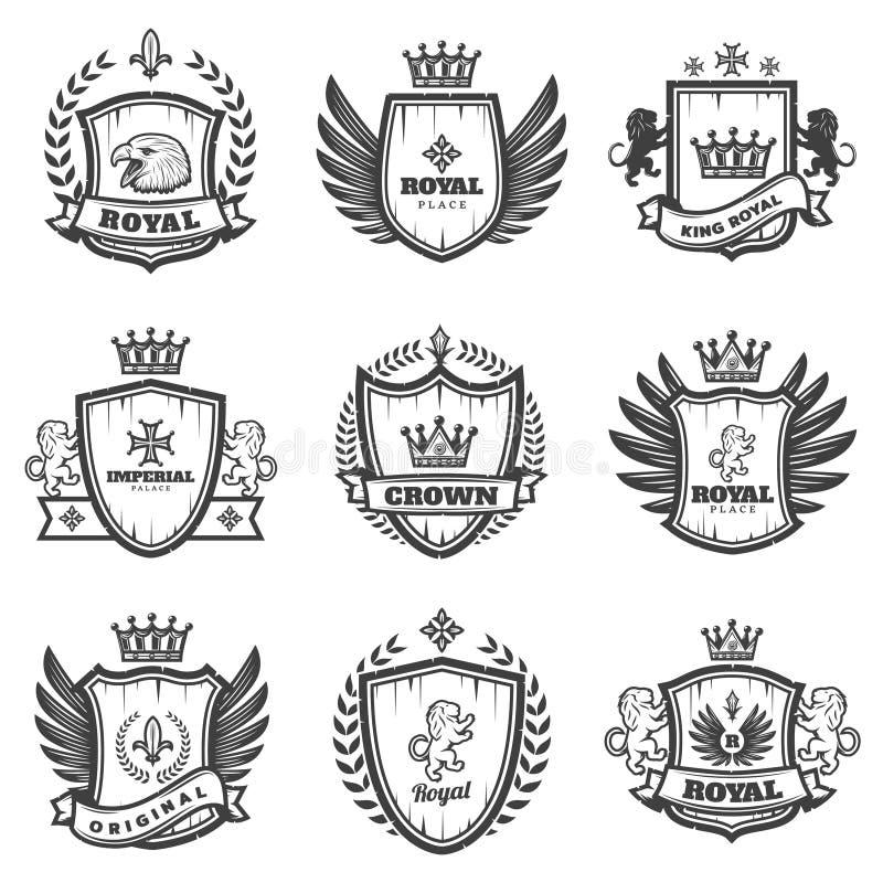 Monokrom heraldisk emblemuppsättning för tappning stock illustrationer
