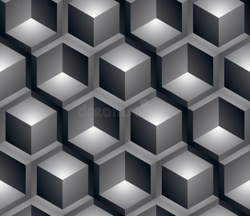 Monokrom illusive abstrakt geometrisk sömlös modell, 3d royaltyfri illustrationer