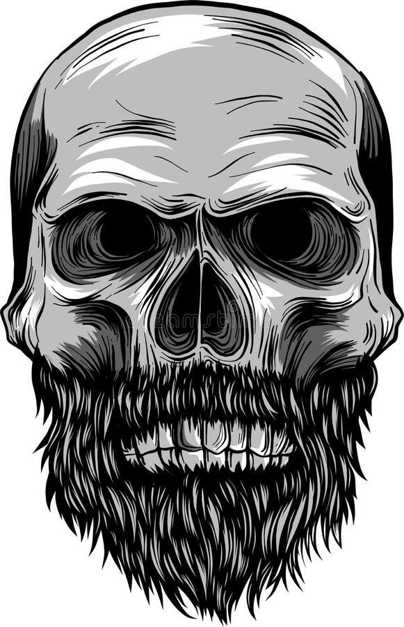 Monokrom illustration av hipsterskallen med mustaschen och skägget stock illustrationer