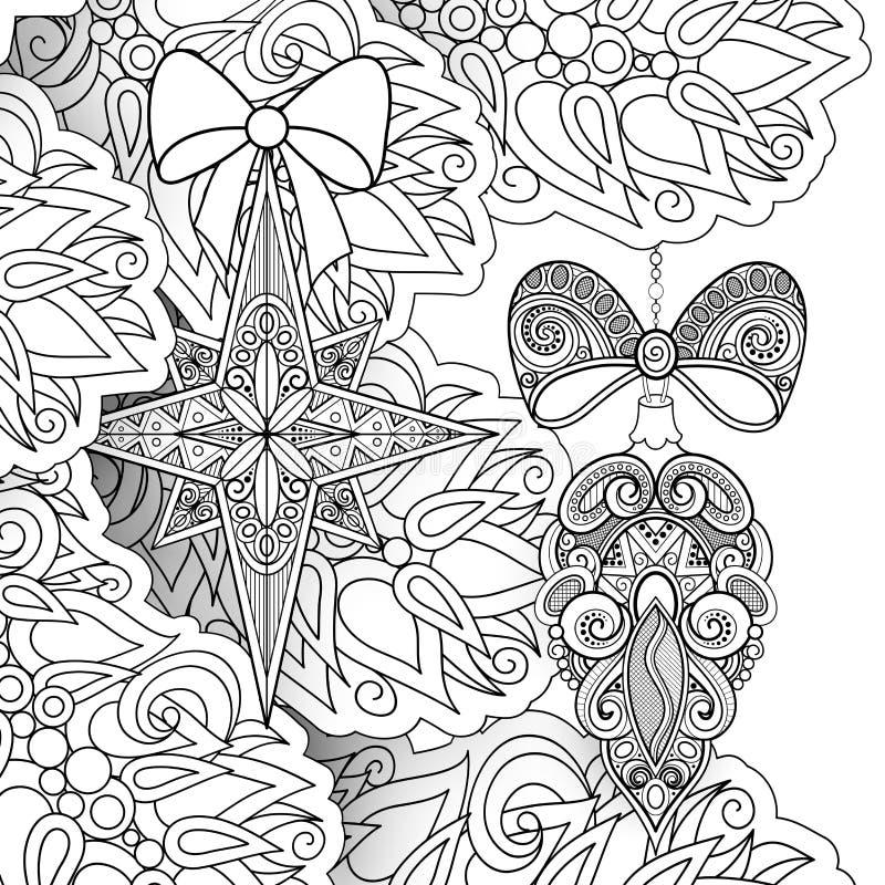 Monokrom illustration för glad jul, etniska motiv royaltyfri illustrationer