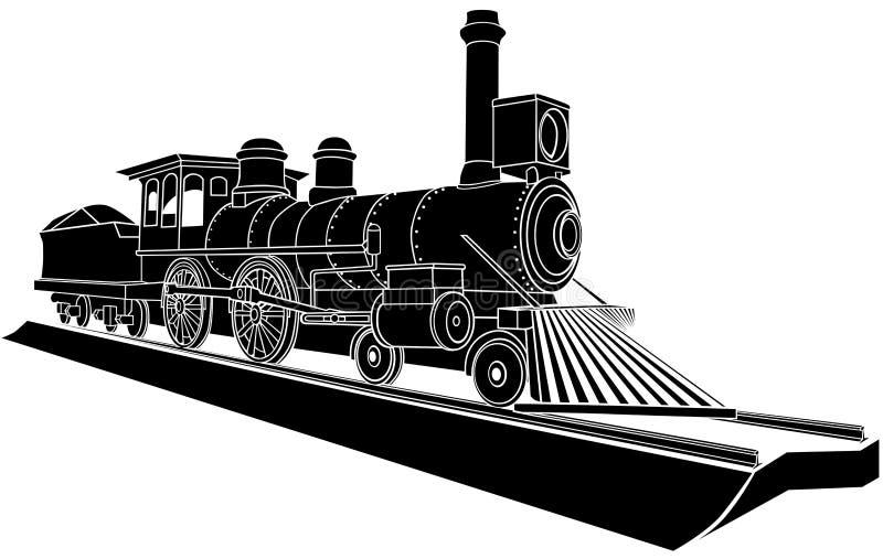 Monokrom illustration för vektor av det gammala ångadrevet. royaltyfri illustrationer