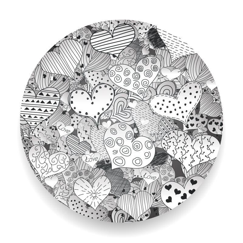 Monokrom illustration för vektor för symboler för klotter för Valentine Day Pattern Sketch Romantic förälskelsehjärtor Retro upps royaltyfri illustrationer