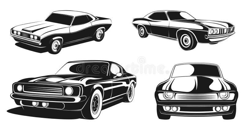 Monokrom illustrationuppsättning av retro muskelbilar Svart vektor stock illustrationer