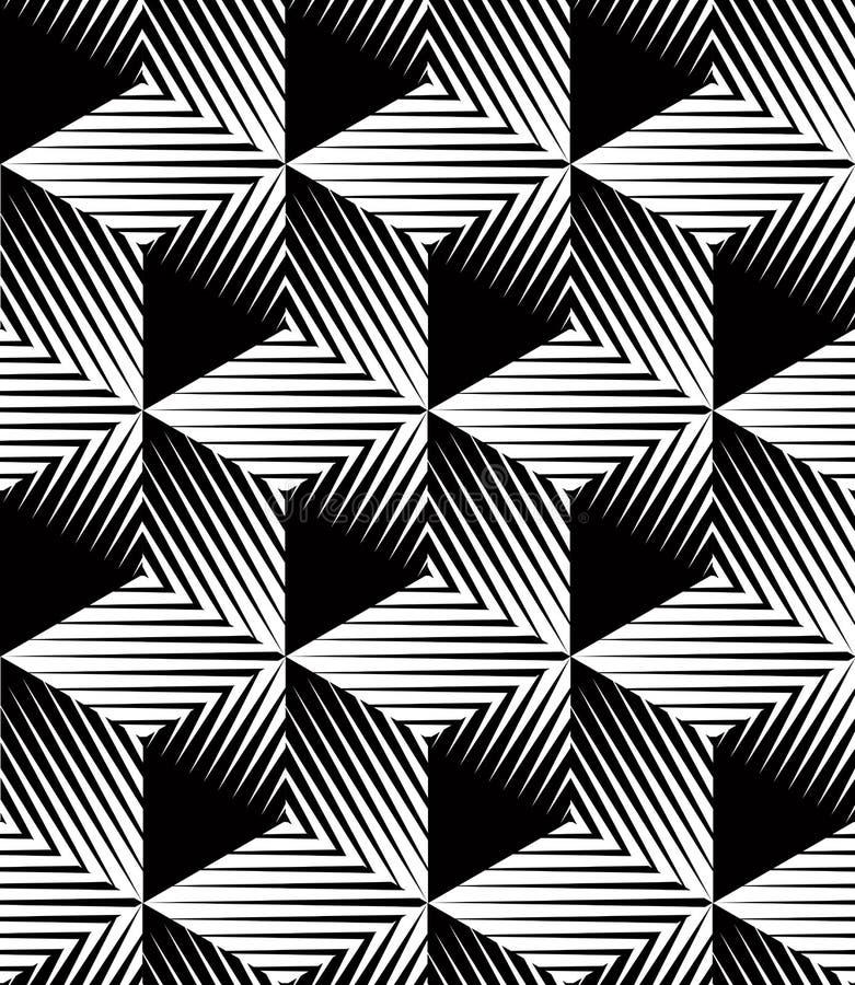 Monokrom inbillad abstrakt geometrisk sömlös modell med 3d stock illustrationer
