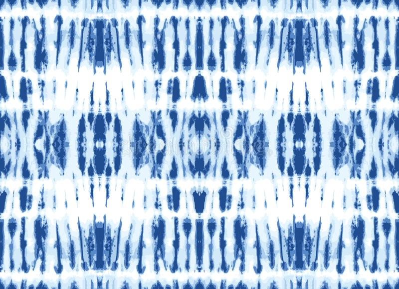 Monokrom indigo-ljusfärgad Shibori-speglade lodräta strimmor på Vector med vit bakgrund, sömlöst mönster royaltyfri illustrationer