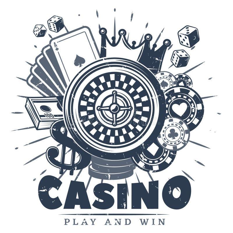 Monokrom kasino Logo Template för tappning stock illustrationer