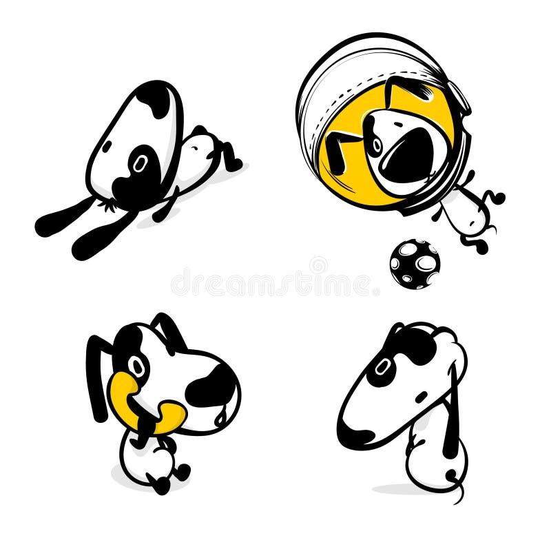 Monokrom klistermärkeuppsättning för gullig komisk hund stock illustrationer