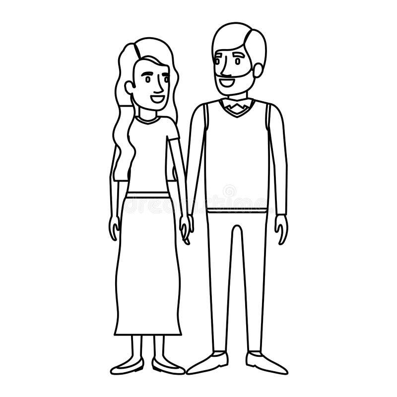 Monokrom kontur av man- och kvinnaanseendet och hennes med lång krabbt hår och honom i formellt kläder och skägg stock illustrationer