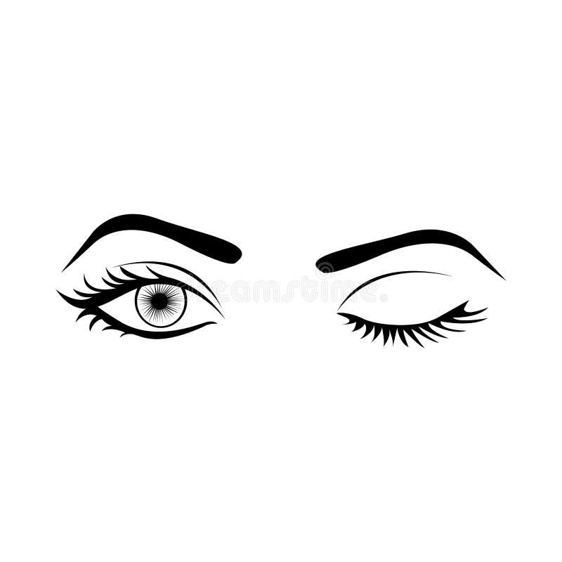 monokrom kontur med blinkningkvinnaögat vektor illustrationer