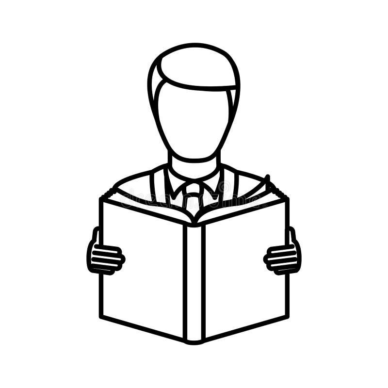 monokrom kontur med mannen som läser en bok vektor illustrationer