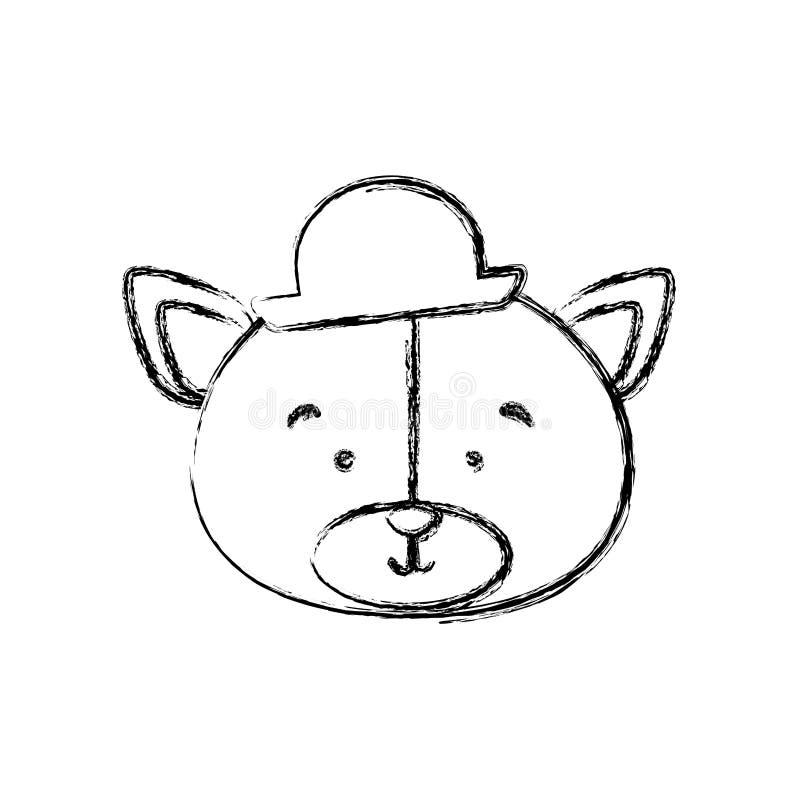 Monokrom konturblurr med framsidan av brudgumbjörnen royaltyfri illustrationer
