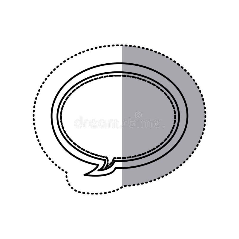 monokrom konturklistermärke av den ovala dialogen för bubblaramcallout vektor illustrationer