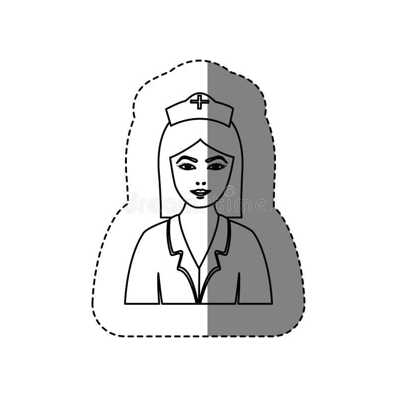 monokrom konturklistermärke med den halva kroppen av sjuksköterskan stock illustrationer