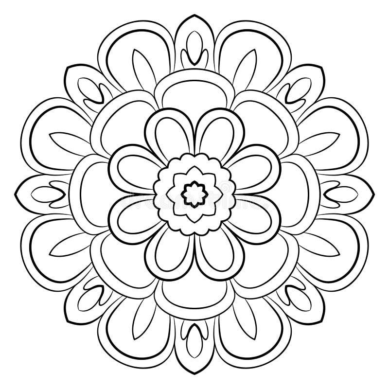 Monokrom mandala En upprepande modell i cirkeln En härlig bild för urklippsbok royaltyfri illustrationer