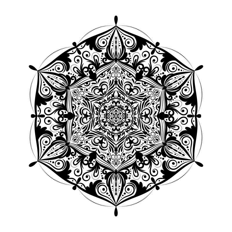 Monokrom mandalaklotterbeståndsdel i bohostil Den dekorativa runda modellen, blommamandalaen, etnisk prydnad, snör åt servetten royaltyfri illustrationer