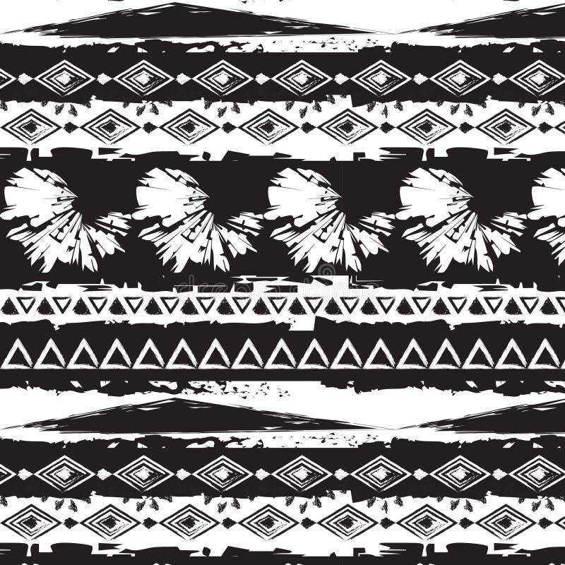 Monokrom modell för stam- etniskt sömlöst band royaltyfri illustrationer