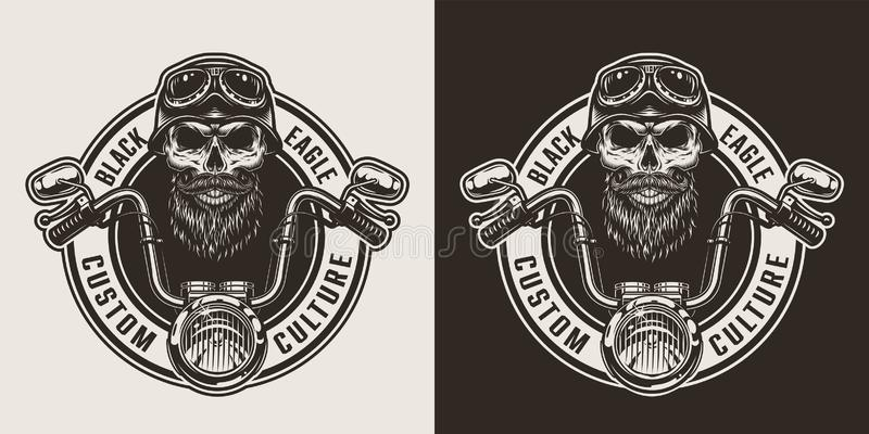 Monokrom motorcykeletikett f?r tappning stock illustrationer