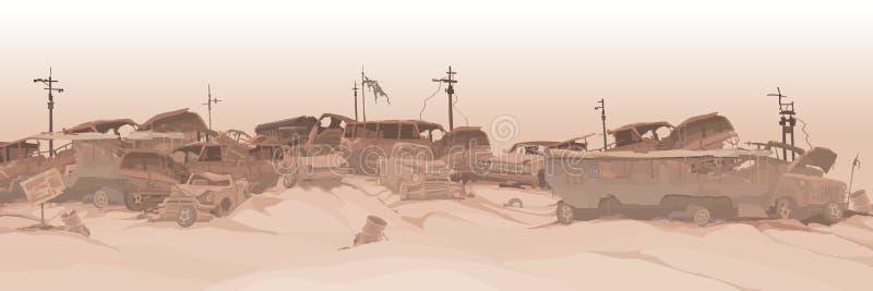 Monokrom panorama- bakgrund av en förrådsplats av olika bilrest stock illustrationer