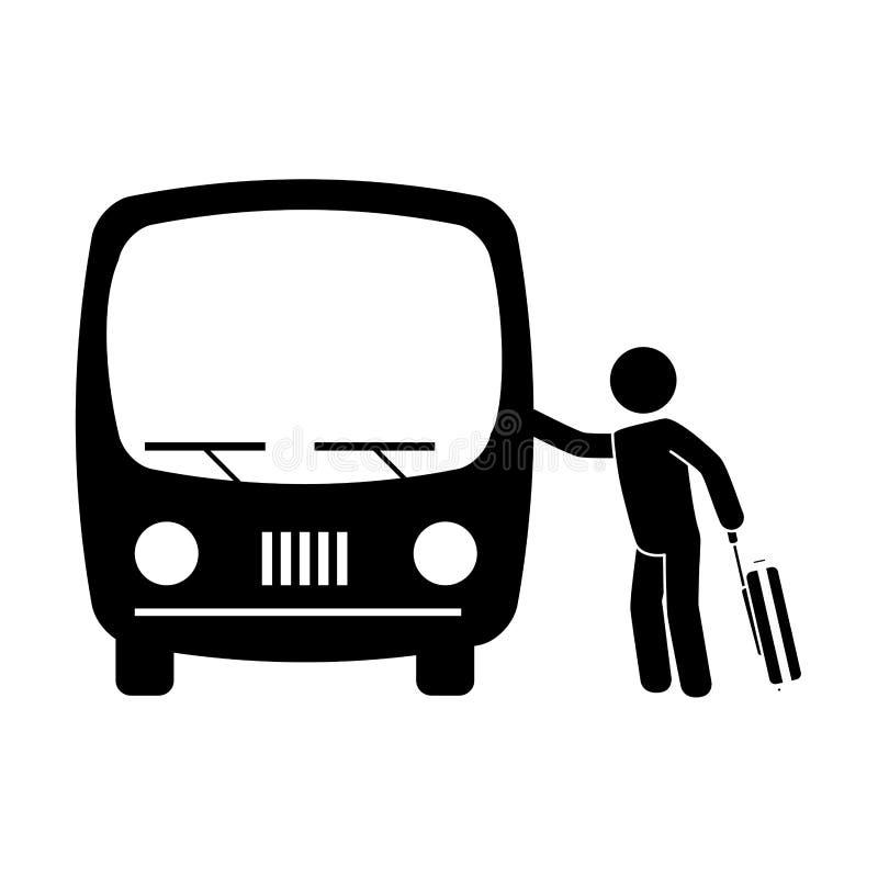 Monokrom pictogram med mannen och resväskan som tar en buss royaltyfri illustrationer