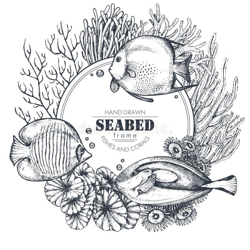 Monokrom ram med hand drog revkoraller och exotiska fiskar stock illustrationer