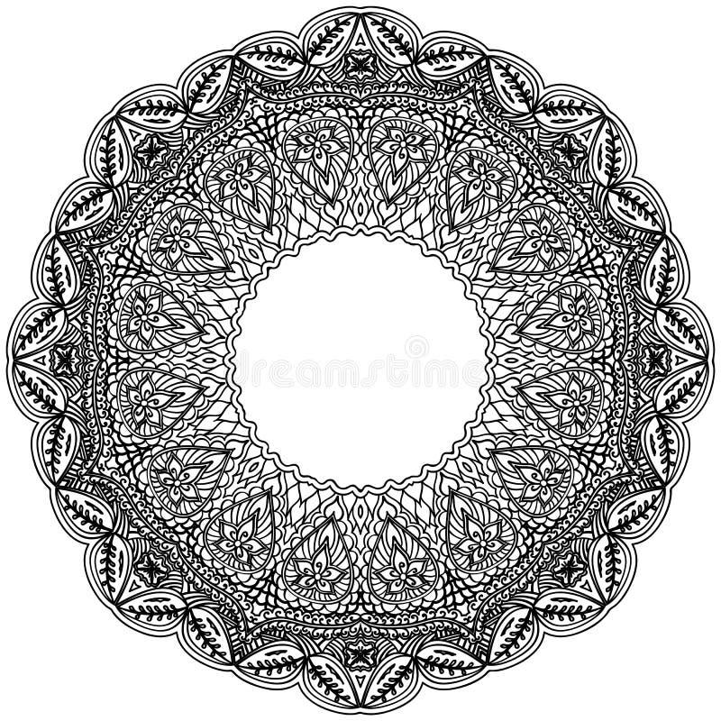 Monokrom rammandala Svart beståndsdel för design i den indiska stilen som isoleras på vit bakgrund royaltyfri illustrationer