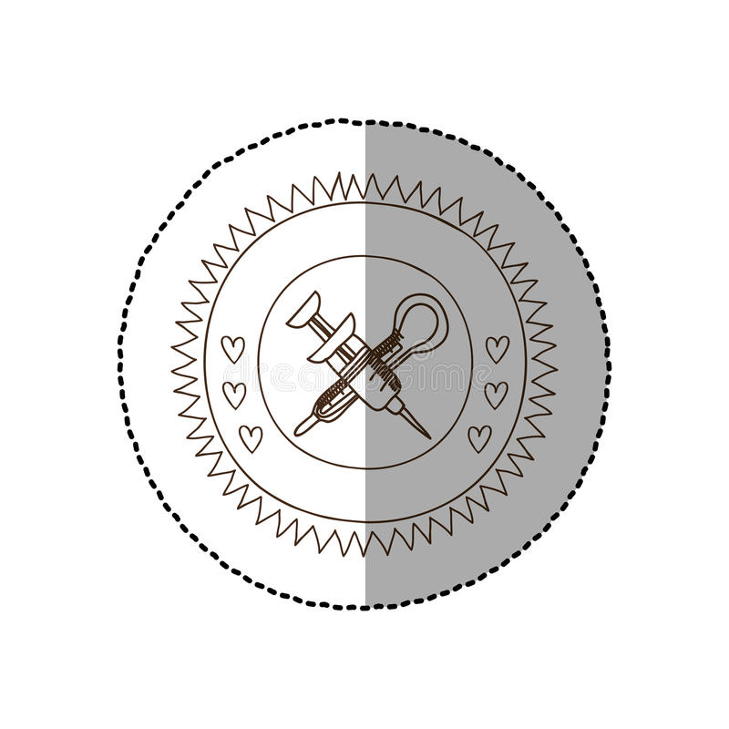 Monokrom rund ram med den mellersta skuggaklistermärken med den korsade injektionssprutan och termometern stock illustrationer
