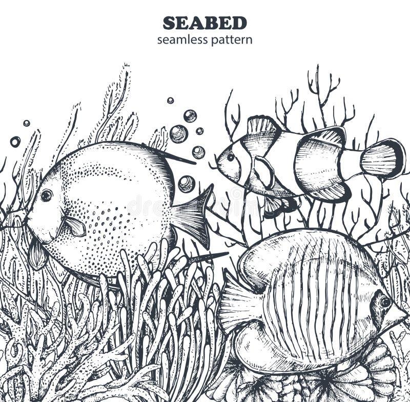 Monokrom sömlös havsmodell för vektor med tropiska fiskar, alger, koraller vektor illustrationer