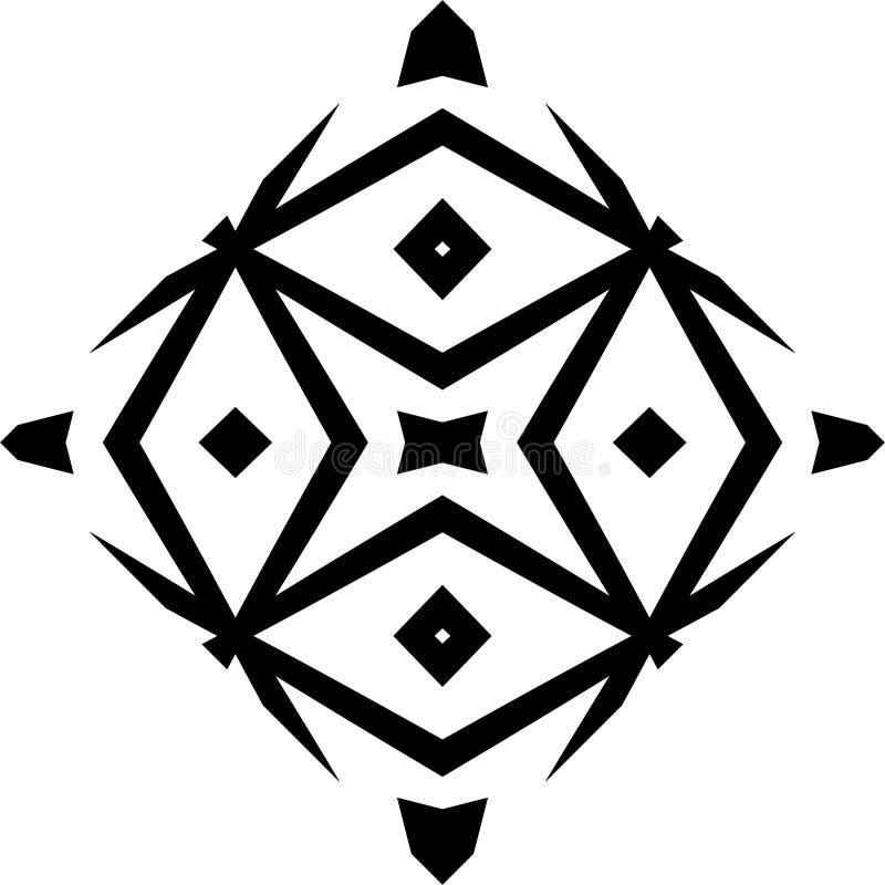 Monokrom sömlös modell för vektor, abstrakt geometrisk textur för blom- prydnad stock illustrationer