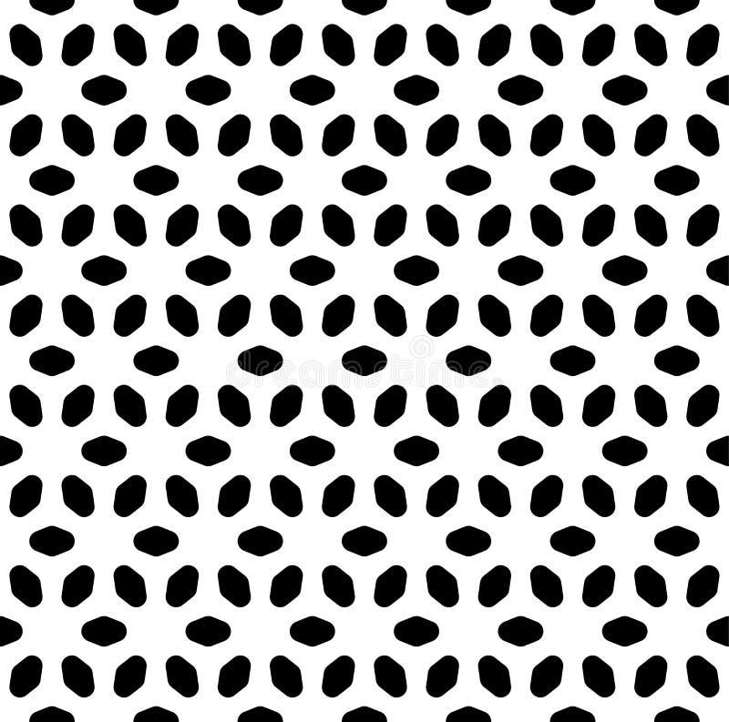 Monokrom sömlös modell för vektor, abstrakt geometrisk textur för blom- prydnad royaltyfri illustrationer