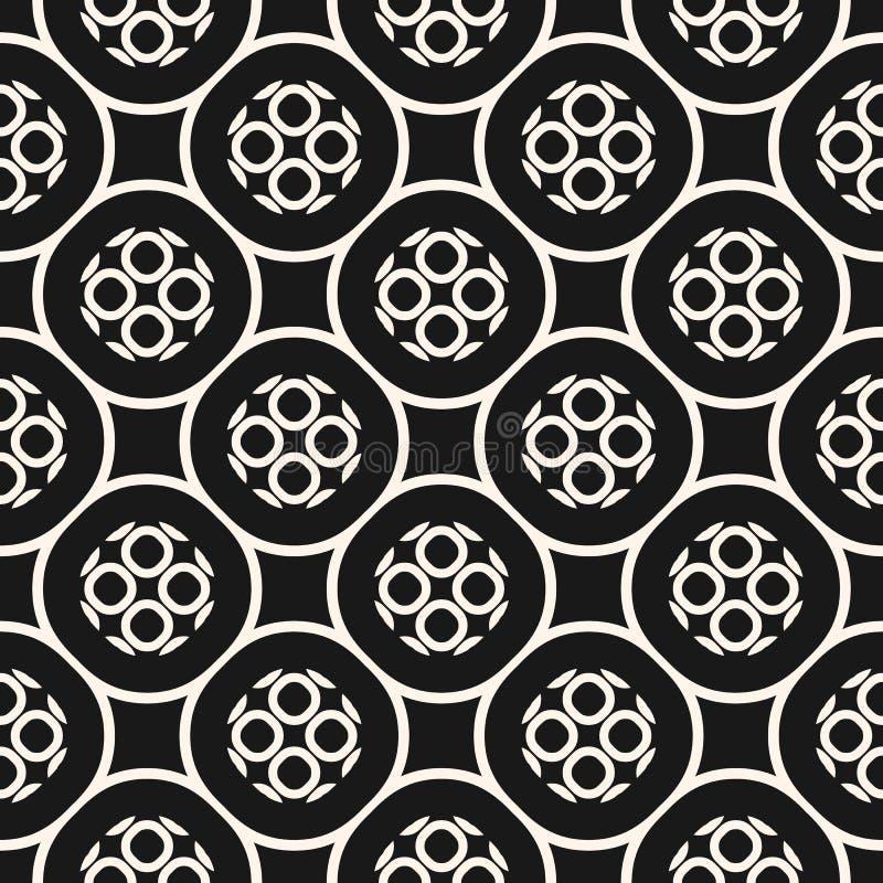 Monokrom sömlös modell för vektor med geometriska cirklar stock illustrationer