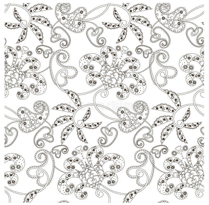 Monokrom sömlös modell med blommor, paisley, materielvektorillustration royaltyfri illustrationer