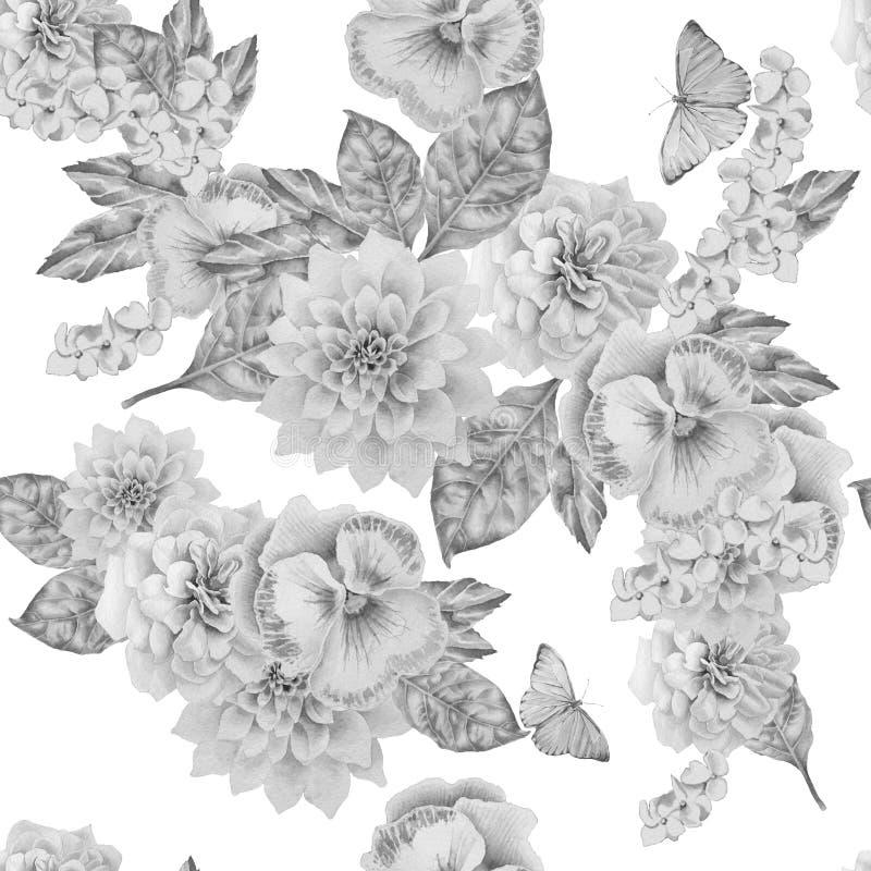 Monokrom sömlös modell med härliga blommor och fjärilen pansies Pion vektor illustrationer