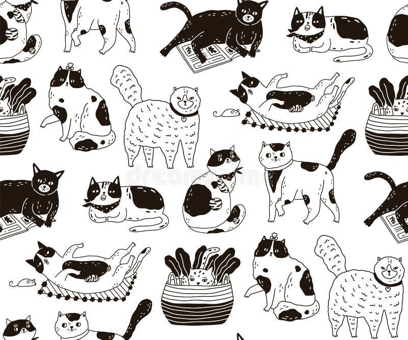 Monokrom sömlös modell med katter som sover och att tvätta sig, spela som sträcker själv Bakgrund med det gulliga fullblods- husd vektor illustrationer