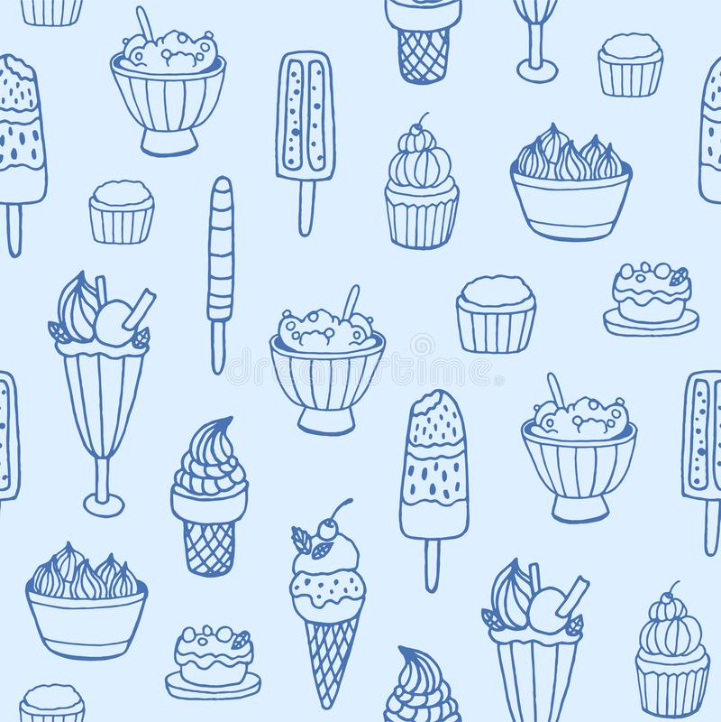 Monokrom sömlös modell med läcker glass och mjölkaktiga efterrätter av olika typer på vit bakgrund _ stock illustrationer